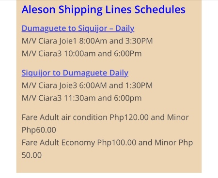 Ferry Schedule as of 2018 (ctto) check their website for updates